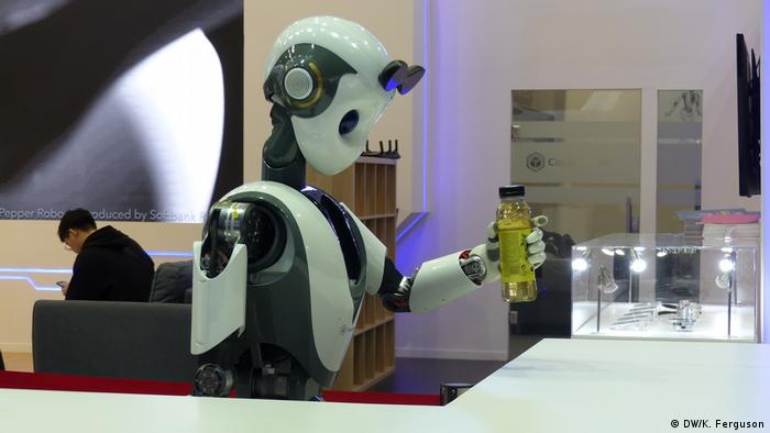 A picture of the XR -1 service robot designed by CloudMinds which can serve as a concierge, receptionist and in the elderly care sector