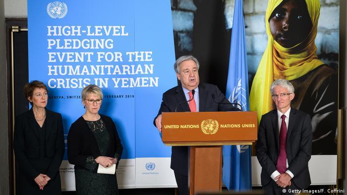 Die schweizerische Vizepräsidentin Simonetta Sommaruga, die schwedische Außenministerin Margot Wallström, der Generalsekretär der Vereinten Nationen, Antonio Guterres, und der Vize-Generalsekretär der Vereinten Nationen für humanitäre Angelegenheiten und Nothilfekoordinator Mark Lowcock