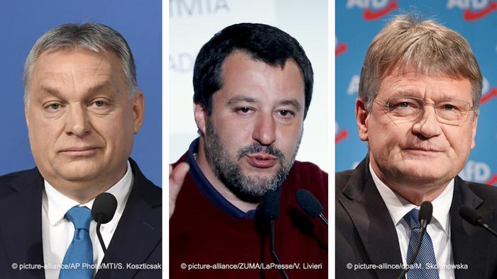 Viktor Orban, Matteo Salvini and Jörg Meuthen