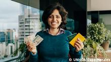 Maha Mamo, a refugee born stateless in Lebanon and still without a nationality at the age of 28, shows her identity documents at Google's headquarters in São Paulo where she is hosting an entrepreneurship workshop for refugees and migrants. ; Born in Lebanon to unmarried Syrian parents, Maha Mamo was denied citizenship and grew up as a stateless refugee in her own country. A combination of archaic laws stood in her way. As the daughter of immigrants, Lebanese law didn't allow her automatic citizenship by birth. Syrian law prohibited her mother from passing on her nationality – only fathers have that right. And both Lebanon and Syria ban inter-faith marriages, so Maha's Christian father and Muslim mother were never allowed to marry – a major problem as Syrian law prohibits a father passing on his nationality to children born out of wedlock. After years of fighting for statehood and being denied the rights of other citizens at school, university and at work, Maha, her sister Souad and brother Eddy, looked abroad. After rejections from many countries, Brazil eventually granted them visas in September 2014 and refugee status in May 2016. A month later, her brother Eddy was killed in a violent robbery. Since arriving in Brazil, Maha has become a spokesperson for stateless people – of whom there are around 10 million in the world. She appears at seminars and is part of UNHCR's #IBelong campaign whose 2017 objective is to remove gender discrimination from nationality laws.