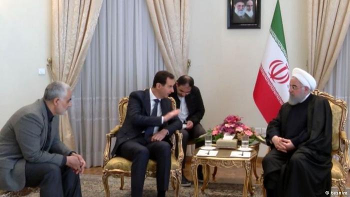حضور قاسم سلیمانی (نفر اول از چپ) در ملاقات اسد و روحانی