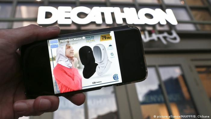 The Decathlon sign with a photo of the sports hijab