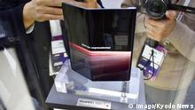 25.02.2019 Mobile World Congress Photo taken Feb. 25, 2019, shows the new Huawei Mate X foldable smartphone being exhibited at the Mobile World Congress fair in Barcelona. PUBLICATIONxINxGERxSUIxAUTxHUNxONLY