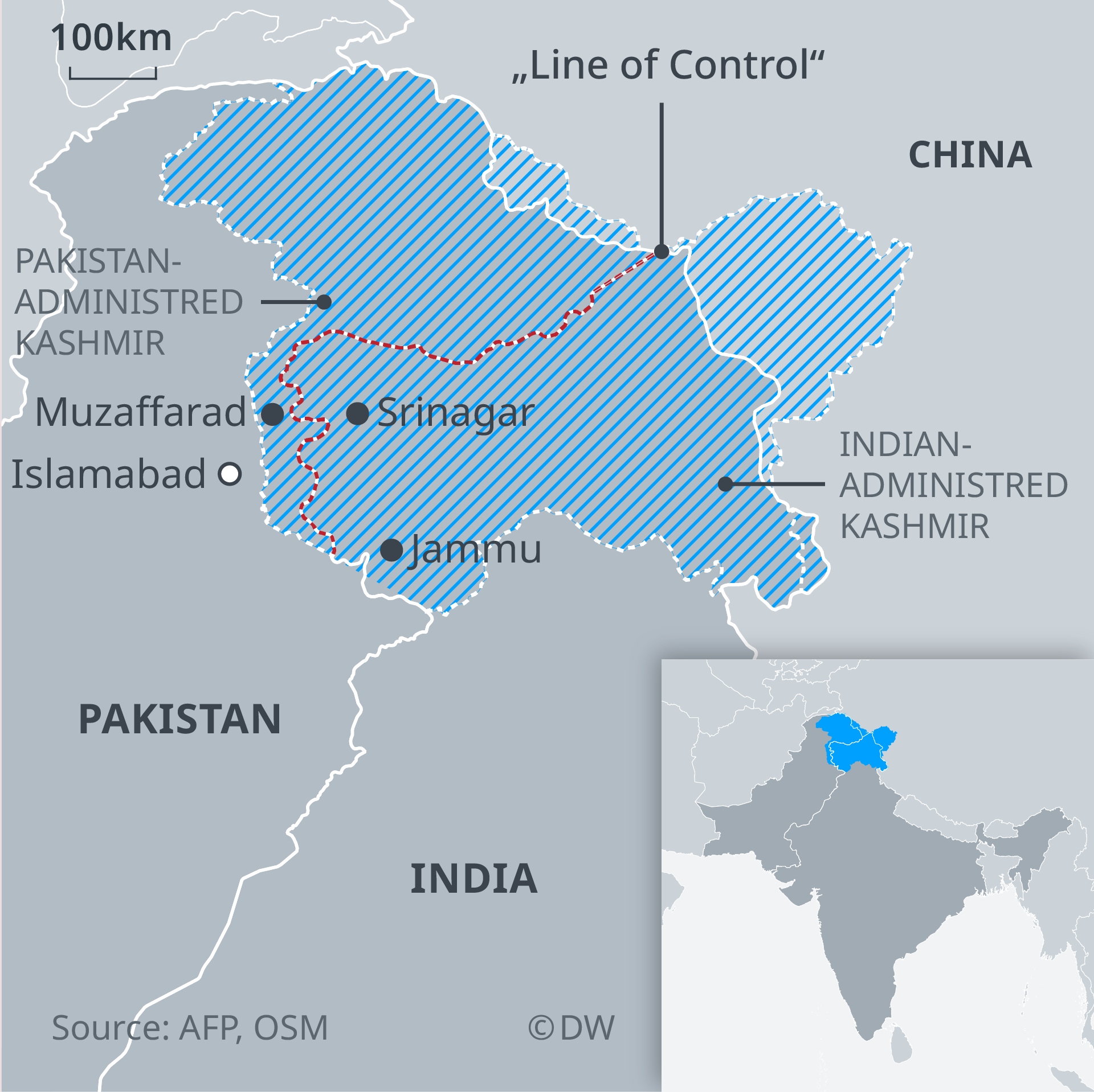 A map of disputed Kashmir region