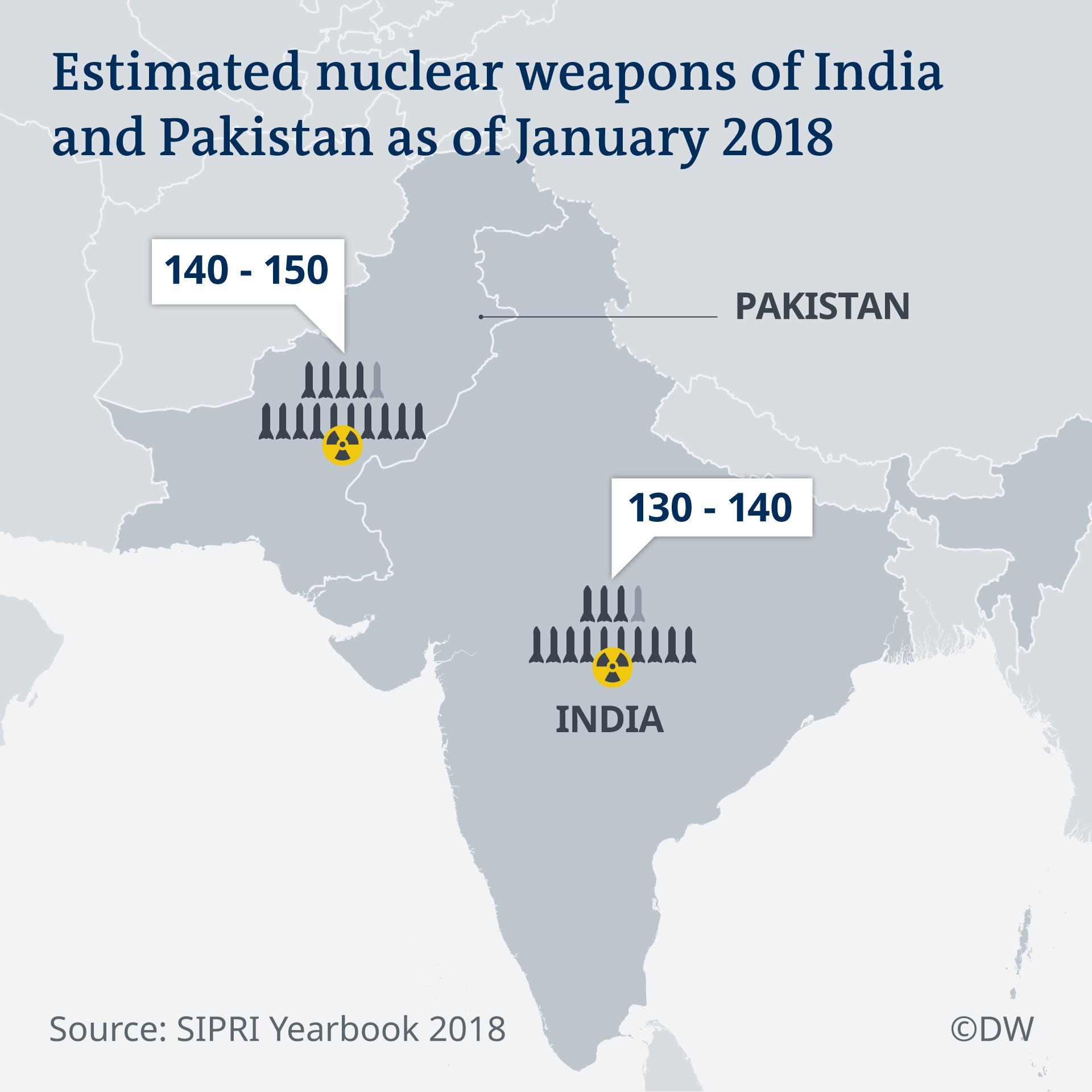 Infografik Karte Atomwaffenarsenal Indien und Pakistan 2018 EN