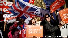 Pro-Brexit and anti-Brexit protesters stand outside of the Houses of Parliament in London, Britain, February 27, 2019. REUTERS/Henry Nicholls