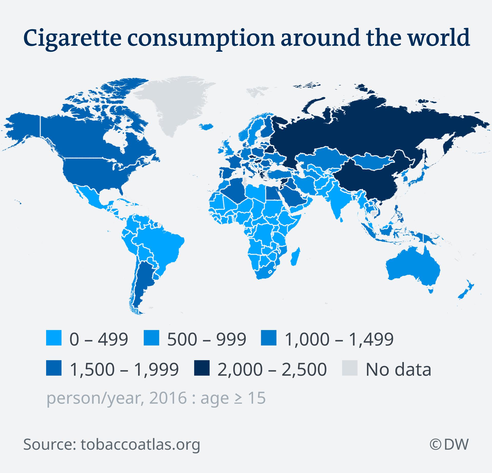 Infografik Karte Weltweiter Zigarettenkonsum EN