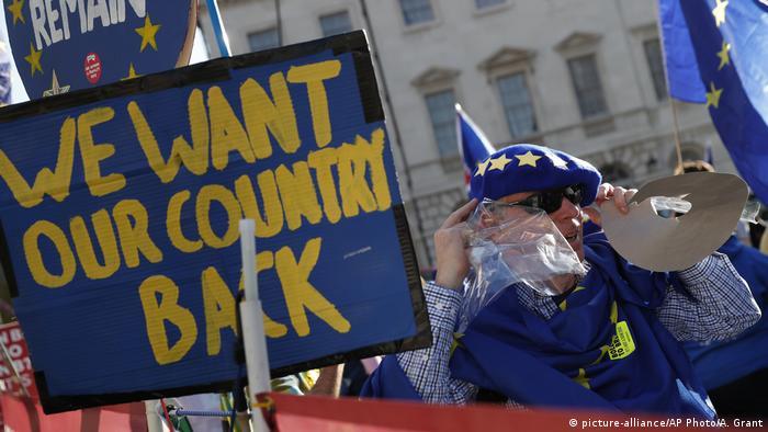 Großbritannien London - EU Unterstützer Demonstrieren vor dem Parlament