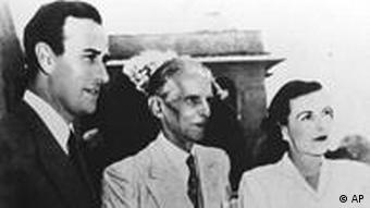 Founder of Pakistan Mohammad Ali Jinnah, center; last British viceroy Lord Mountbatten, left; and Lady Mountbatten
