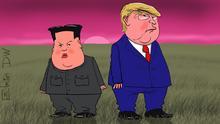 Das ist eine Karikatur von Sergey Elkin. Sie darf auf DW-Seiten veröffentlicht werden. Copyright: Sergey Elkin. Thema: Kim und Trump – Gipfel ohne Ergebnis. Stichworte: Sergey Elkin, Karikatur, Kim, Trump, Nordkorea. USA Bildbeschreibung: Karikatur - Kim und Trump schauen beleidigt in die gegengesetzte Richtngen.