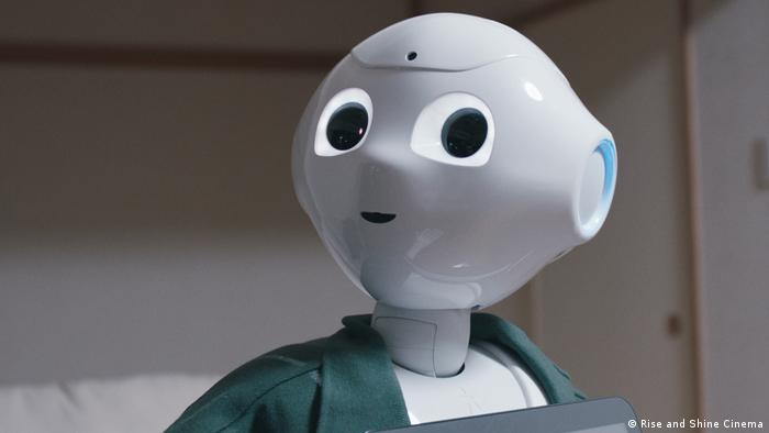 Still from 'Hi, A.I.' documentary film, showing Pepper the robot looking mildly surprised (Rise and Shine Cinema)