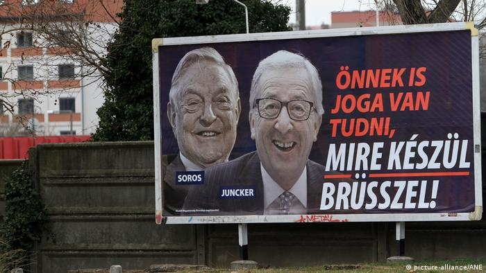 A campaign poster showing Jean-Claude Juncker and George Soros