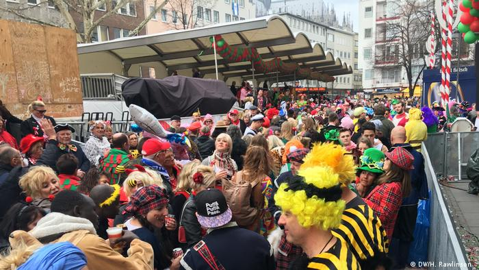 A lot of people in various costumes at Cologne Carnival.