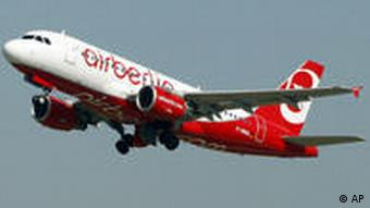 An Air Berlin plane just after take-off.