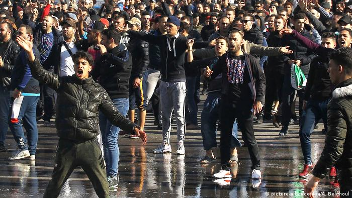 Angry Algerian protesters
