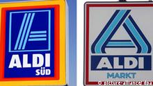 ARCHIV - Die Kombo zeigt die Schilder von Aldi Süd und Aldi Nord (Archivbilder). Die «Pfennigfuchser» Karl und Theo Albrecht, Gründer des Lebensmittel-Discounters Aldi, sind nahezu ungeschoren durch Wirtschafts- und Finanzkrise gekommen. Die Brüder sind nach Recherchen des «manager magazins» auch 2009 die reichsten Deutschen. Ihr Vermögen wird auf 17,35 beziehungsweise 16,75 Milliarden Euro geschätzt. Das sind nur rund 200 und 300 Millionen Euro weniger als bei der Schätzung 2008. Fotos: Wolfram Steinberg/Peter Förster (zu dpa 0310 vom 06.10.2009) +++(c) dpa - Bildfunk+++