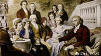 فریدریش شیلر (راست) در جمع خانوادهاش
