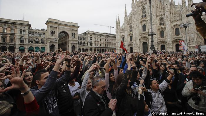 Protesters in Milan condemn racism