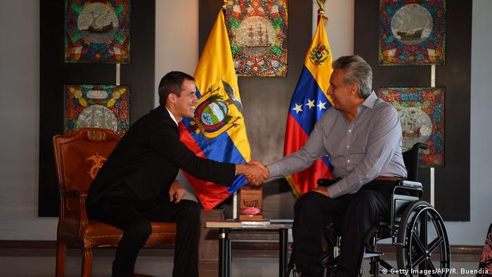 Ecuador, Salinas: Juan Guaido und Lenin Moreno (Getty Images/AFP/R. Buendia)