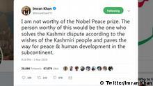 Twitter Screenshot - Imran Khan nicht würdig den Friedensnobelpreis zu erhalten