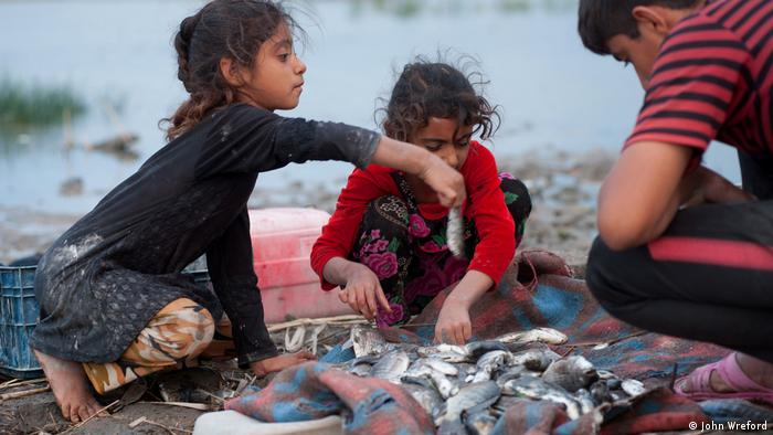 Three children sort through their catch of fish on the banks of the marsh (photo: John Wreford)