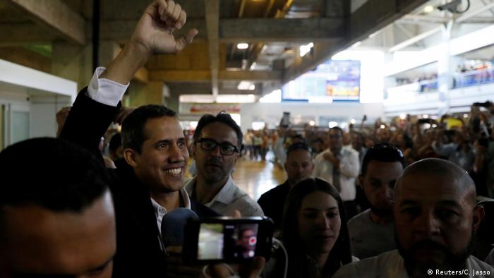 Large crowds greeted Guaido at the airport