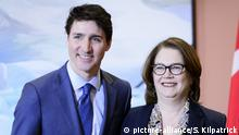 THE CANADIAN PRESS 2019-03-04. Prime Minister Justin Trudeau and Liberal MP Jane Philpott take part in a cabinet shuffle at Rideau Hall in Ottawa on Monday, Jan. 14, 2019. THE CANADIAN PRESS/Sean Kilpatrick URN:41584491 |