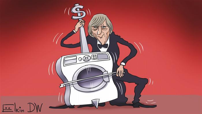 Карикатура Сергея Елкина на тему офшорных схем и отмывания денег банком Тройка Диалог