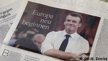 Das Bild st von einer TV-Maz abfotografiert. zeigt Macrons article heute in der Welt. Foto. Bodo Zemke.