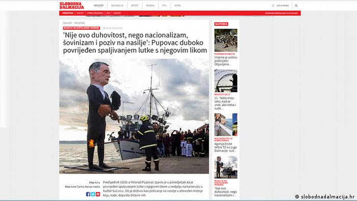 Screenshot Slobodnadalmacija.hr l Kroatien Karneval - Pupovac-Puppe wird verbrannt