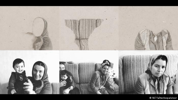 Turkish women with headscarf, above them, the drawings, in ahich Nil Yalter has removed the face (Nil Yalter/espaivisor)
