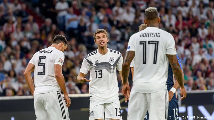 Mats Hummels, Thomas Müller and Jerome Boateng playing against France in September 2018