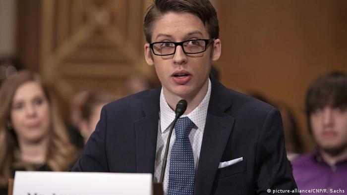 Ethan Lindenberger speaks before the US Senate Committee on Health in Washington