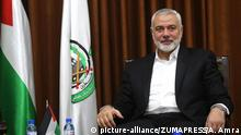 March 5, 2019 - Gaza City, Gaza Strip, Palestinian Territory - Palestinian Hamas chief in the Gaza strip Ismail Haniyeh meets with the commissioner of Egyptian intelligence Amr Hanafi, in Gaza city on March 05, 2019. The leader of Gaza's ruling Hamas movement says Egypt is launching a new round of mediation to secure a cease-fire between the militant group and Israel |