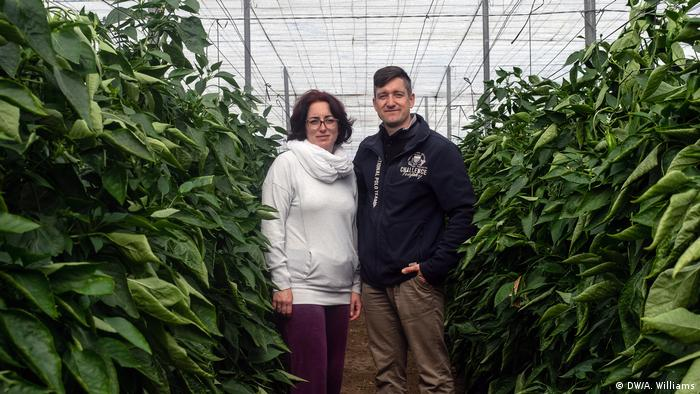Farmers Lidia Martinez Walbrecht and Tobias Übel stand in one of their greenhouses in Roquetas de Mar, Spain (DW/A. Williams)