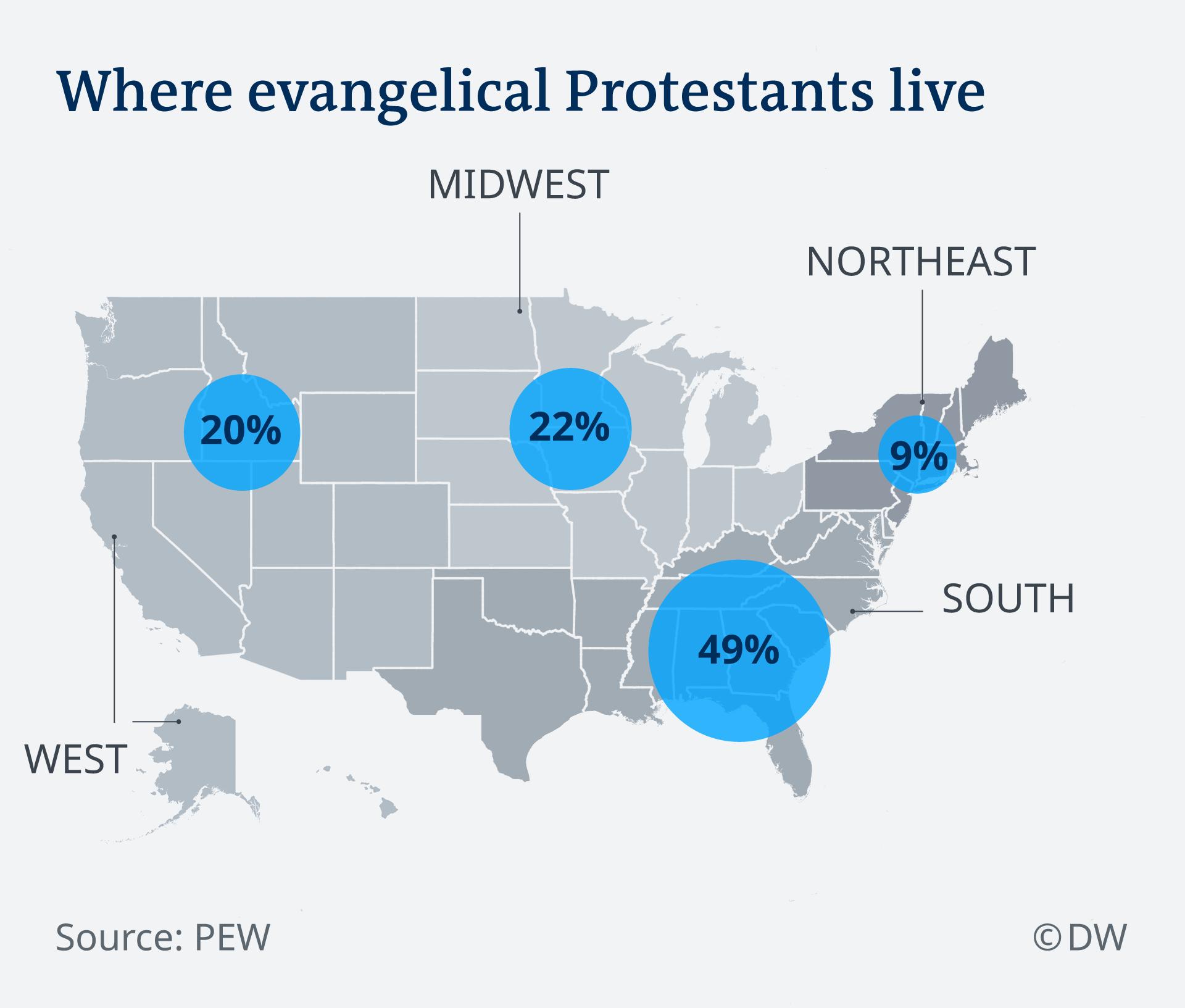 Infografik Where evangeical Protestants live EN