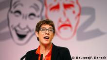 Annegret Kramp-Karrenbauer, leader of Germany's conservative Christian Democratic Union (CDU), speaks during the traditional Ash Wednesday party meeting in Demmin, Germany, March 6, 2019. REUTERS/Fabrizio Bensch