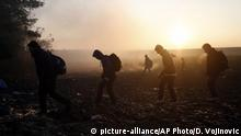 People walk in the field near a borderline between Serbia and Croatia, near the village of Berkasovo, Serbia, Wednesday, Oct. 21, 2015. Croatia, which has erected relatively few shelters along its borders with Serbia and Slovenia, directed thousands into special trains and bus convoys Tuesday to Slovenia in an apparently concerted effort to clear a backlog built up since Saturday, when Hungary closed its borders with Croatia. (AP Photo/Darko Vojinovic) |
