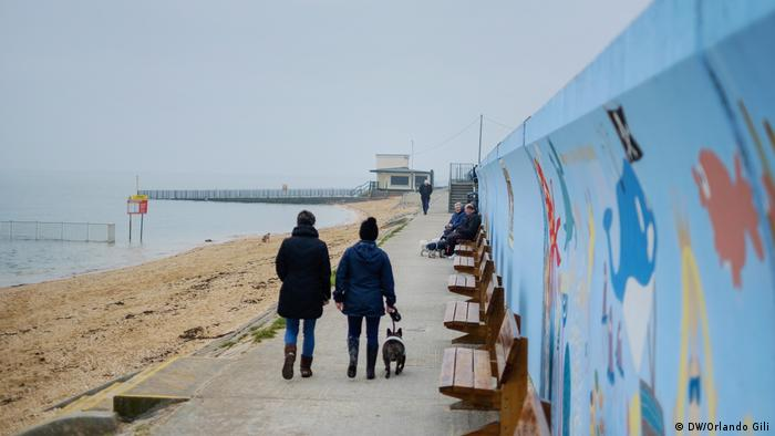 Two people with a dog walk past sea defense walls
