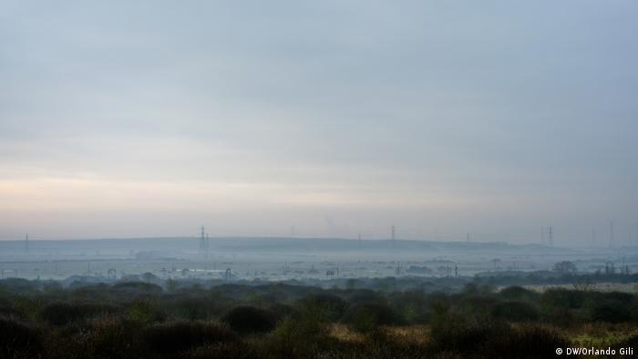 Marshland connecting Canvey Island to mainland England