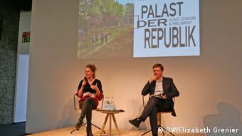 Curators Elske Rosenfeld and Thomas Oberender presenting the program of the Palast der Rpublik event