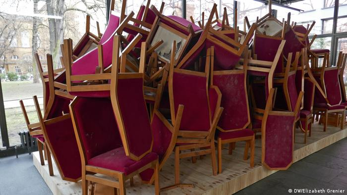 A pile of red chairs, installation at the Berlin Haus der Festpiele