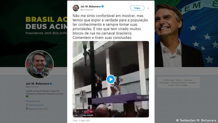 Twitter Screenshot l Tweet vom Brasilianischen Präsidenten Bolsonaro