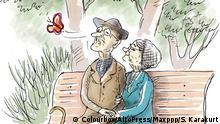 Illustration - Älteres Paar sitzt auf Bank