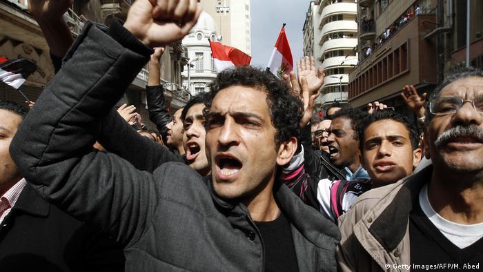Ägypten l Schauspieler Amr Waked auf einer Anit-Regierungsdemo in Kairo
