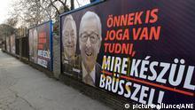Ungarn Plakatwand mit George Soros und Jean-Claude Juncker