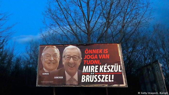 George Soros iza Jean-Claudea Junckera na plakatu