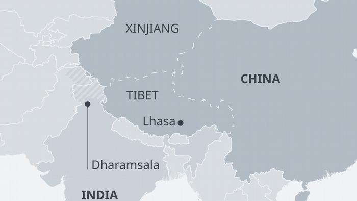 Karte China Indien Tibet Xinjiang EN