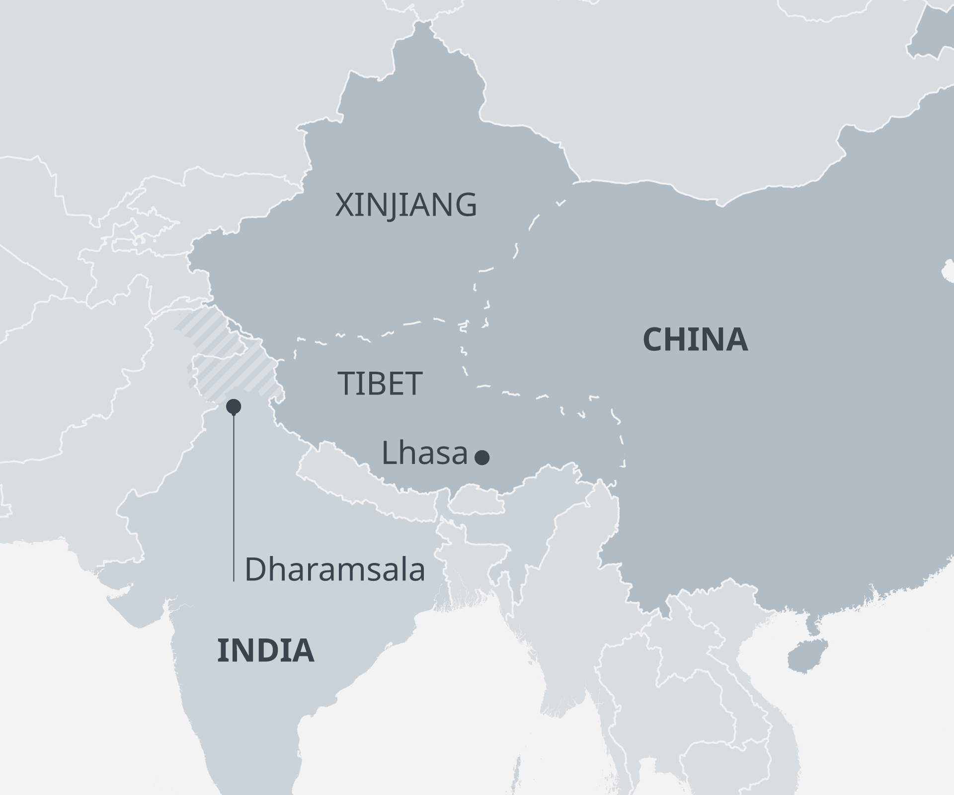 Map of India, China, Tibet
