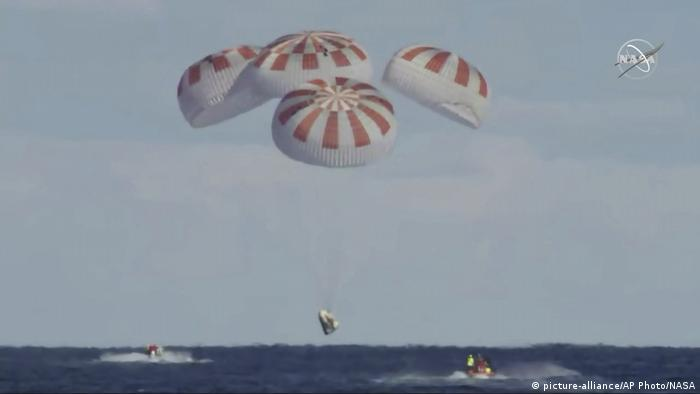 Parachutes brought the SpaceX Dragon safely to the sea touchdown